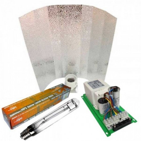 Kit Iluminacion Balastro Pure Light 600W + Reflector Stucco + Pure Light HPS 600W Grow Bloom MAX